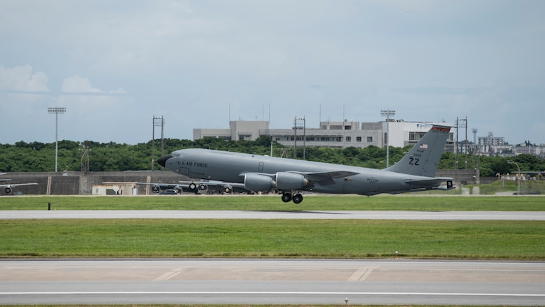 A U.S. Air Force KC-135 Stratotanker assigned to the 909th Aerial Refueling Squadron takes off during a training exercise July 8, 2020, at Kadena Air Base, Japan. The 909th ARS conducted refueling support for the 67th Fighter Squadron. The U.S. Indo-Pacific Command has the capacity to conduct training and exercises focused on the full spectrum of military operations, from combat to humanitarian assistance and disaster relief, anywhere throughout the Indo-Pacific region. (U.S. Air Force photo by Staff Sgt. Peter Reft)
