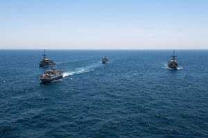200618-N-KZ419-1009 ARABIAN GULF (June 18, 2020) Ships from Saudi Arabia, the U.K, and U.S. sail in formation during a mine countermeasures interoperability exercise in the U.S. 5th Fleet area of operations. The 5th Fleet area of operations encompasses about 2.5 million square miles of water area and includes the Arabian Gulf, Gulf of Oman, Red Sea and parts of the Indian Ocean. The expanse is comprised of 20 countries and includes three chokepoints, critical to the free flow of global commerce. (U.S. Navy photo by Mass Communication Specialist 3rd Class Dawson Roth)