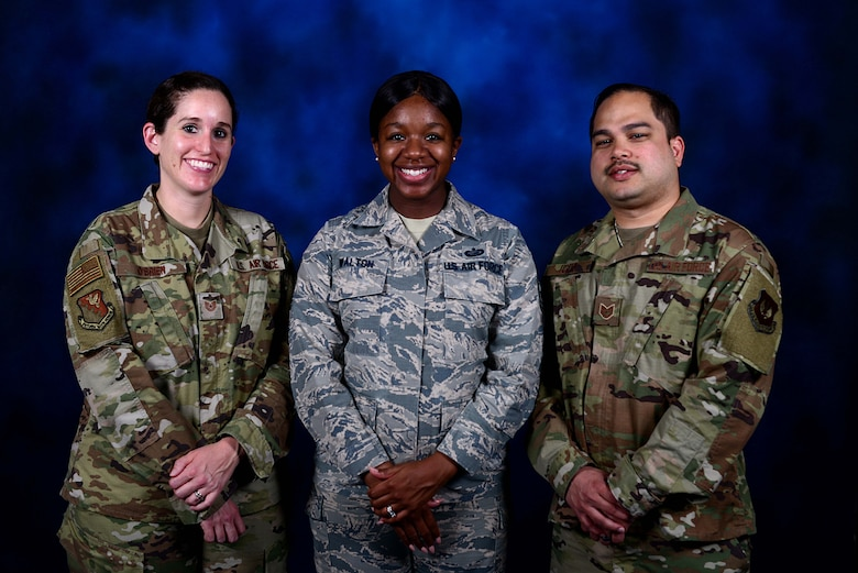Airmen from the 31st Fighter Wing Equal Opportunity office pose for a photo at Aviano Air Base, Italy, June 12, 2019. Air Force EO strives to accomplish its mission by promoting an environment free from personal, social or institutional barriers that could prevent Air Force members from rising to their highest potential. (Photo by 31st Fighter Wing Public Affairs Office)