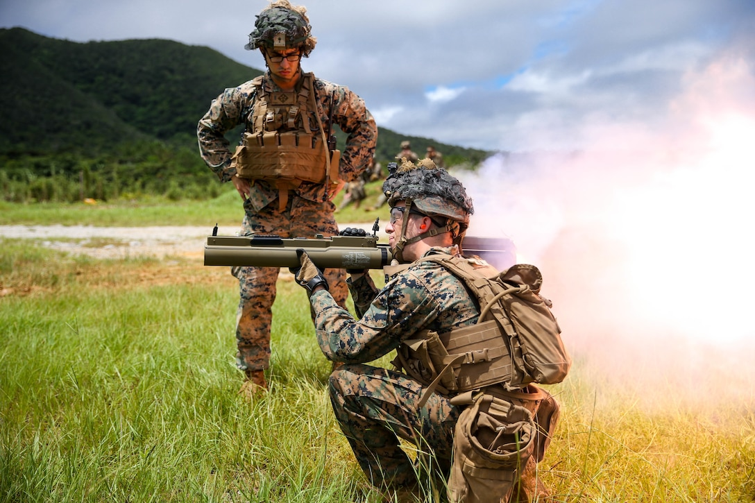 U.S. Marines fire at targets during a high-explosive weapons range on Camp Schwab, Okinawa, Japan, June 27.