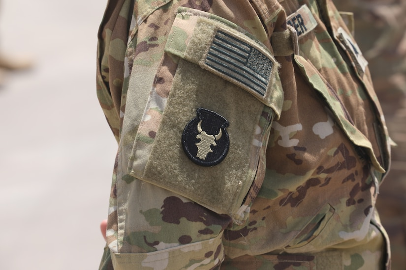 """U.S. Army Soldiers assigned to Task Force Javelin were awarded the Shoulder Sleeve Insignia  of the 34th """"Red Bull"""" Infantry Division on July 2, 2020 in the Kingdom of Saudi Arabia. The SSI was awarded to 21 members of TFJ for their service in a designated combat zone. (U.S. Army National Guard video by Sgt. Trevor Cullen)"""