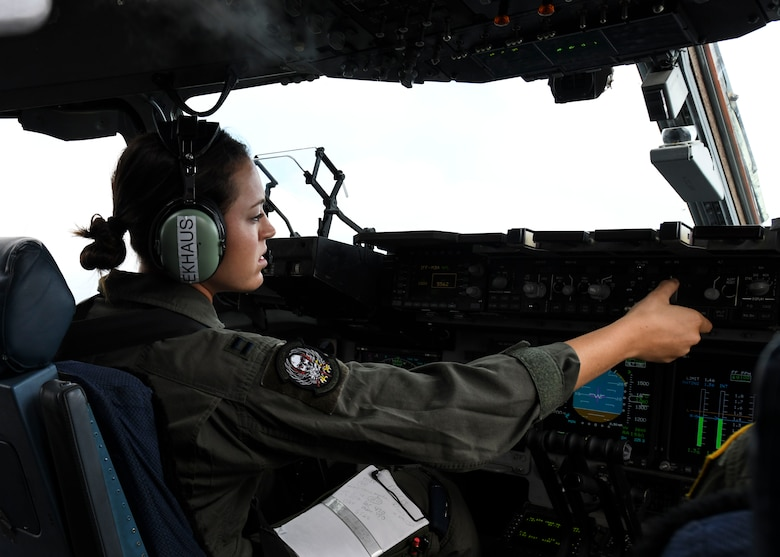 """Capt. Ana Ekhaus, a C-17 Globemaster III pilot assigned to the 15th Airlift Squadron at Joint Base Charleston, S.C., conducts a local pattern-only flight over S.C., June 24, 2020. Capt. Ekhaus conducted """"touch and go's"""" at Myrtle Beach International Airport, S.C. and GOAT's, or go out again training, at Joint Base Charleston's North Auxiliary Field, S.C.. The flight was part of her upgrade training as she prepares to go to C-17 Globemaster III aircraft commander school at Altus AFB, Okla.."""