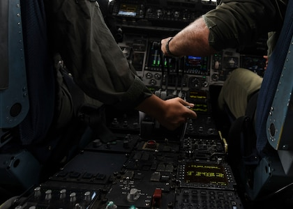 "Capt. Ana Ekhaus, a C-17 Globemaster III pilot assigned to the 15th Airlift Squadron at Joint Base Charleston, S.C., conducts a local pattern-only flight over S.C., June 24, 2020. Capt. Ekhaus conducted ""touch and go's"" at Myrtle Beach International Airport, S.C. and GOAT's, or go out again training, at Joint Base Charleston's North Auxiliary Field, S.C.. The flight was part of her upgrade training as she prepares to go to C-17 Globemaster III aircraft commander school at Altus AFB, Okla.."