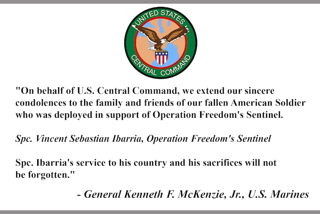 """On behalf of U.S. Central Command, we extend our sincere 