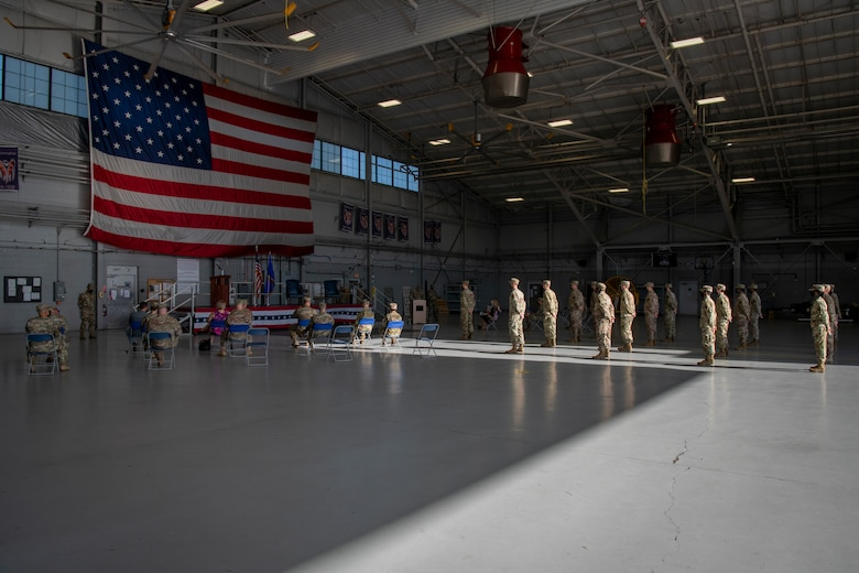 Air Commandos with the 1st Special Operations Wing gather for the 1st Special Operations Munitions Squadron activation ceremony at Hurlburt Field, Florida, July 8, 2020.