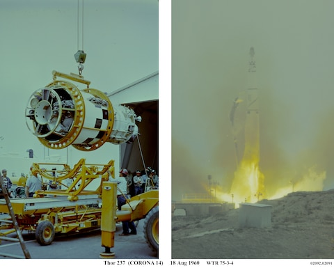 On the left, the Agena booster is prepped for assembly on the Discoverer 14 satellite. This section of the spacecraft holds the Discoverer 14 satellite in the nose of the booster. On the right, the Discoverer 14 satellite, also known as Corona 14, was launched on August 18, 1960, from Vandenberg Air Force Base, Calif.