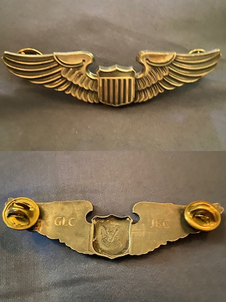 The front and back of the Cooper's pilot wings. Passed down from his father U.S. Air Force retired Lt. Col. Jeff Cooper and grandfather U.S. Air Force Capt. Gerald Cooper, the initials of each are engraved into the back of the wings.