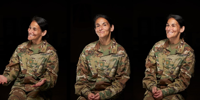 U.S. Army Reserve Maj. Gina Great, Secretary of the General Staff for the 335th Signal Command (Theater) Commanding General, poses for a portrait at East Point, Georgia, May 28, 2020