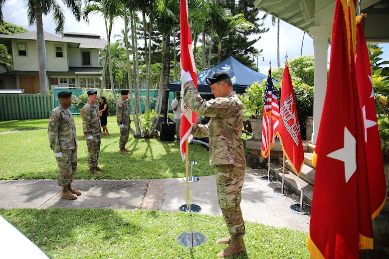 Brig. Gen. Thomas J. Tickner relinquished his position as commander of the U.S. Army Corps of Engineers, Pacific Ocean Division to Col. Kirk E. Gibbs, during a social distance adherence change of command and responsibility ceremony, July 8.