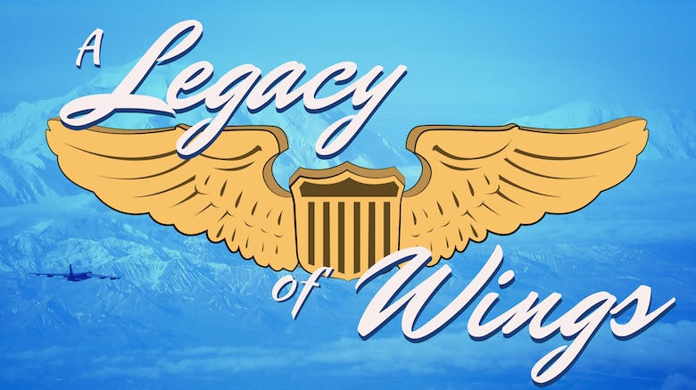 A digital art piece that has the pilot wings and the title of the article 'A legacy of wings'.