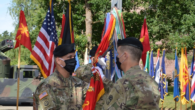 Lt. Col. Abraham N. Osborn assumed command of the 5th Battalion, 4th Air Defense Artillery Regiment from Lt. Col. Todd M. Daniels July 9 on Shipton Kaserne, Germany, with Col. Michael L. Gibson, 678th ADA Brigade commander, officiating the COVID-19 appropriate ceremony.