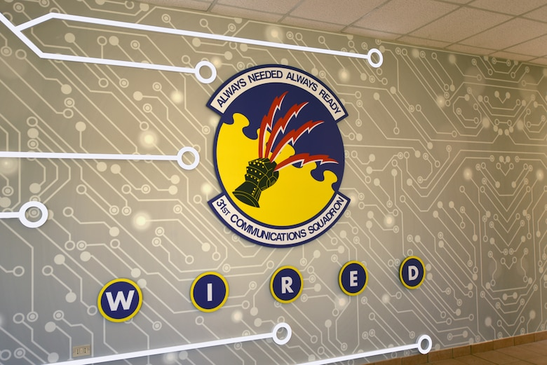 A 31st Communications Squadron patch is displayed at Aviano Air Base, Italy, July 9, 2020. The squadron adapted quickly to unique challenges during the COVID-19 crisis. (U.S. Air Force photo by Staff Sgt. Heidi Goodsell)