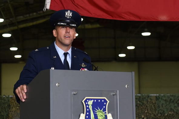 U.S. Air Force Col. Jason Camilletti, 48th Fighter Wing commander, addresses the Liberty Wing for the first time during a change of command ceremony at Royal Air Force Lakenheath, England, July 10, 2020. Prior to his assignment as the Liberty Wing commander, Camilletti was the commander of the 48th Operations Group. (U.S. Air Force photo by Senior Airman Christopher S. Sparks