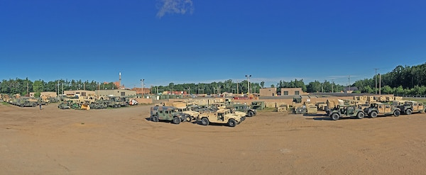 Vehicles lined up awaiting disposition.