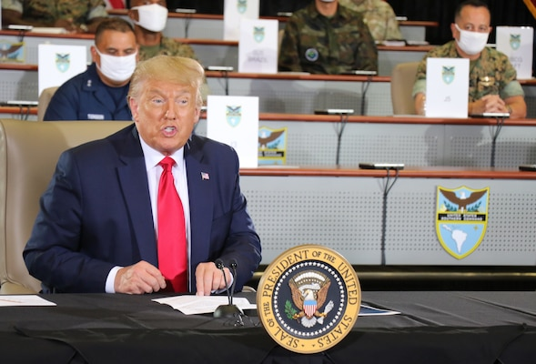President Donald J. Trump speaks during a briefing at U.S. Southern Command headquarters in Doral, Florida.