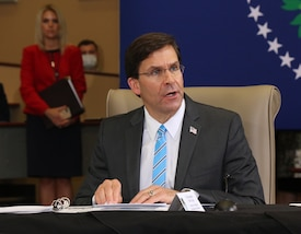Defense Secretary Dr. Mark T. Esper speaks during a briefing at U.S. Southern Command headquarters in Doral, Florida
