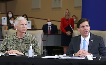 Defense Secretary Dr. Mark T. Esper speaks during a briefing at U.S. Southern Command headquarters in Doral, Florida.