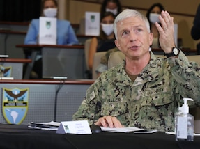 The commander of U.S. Southern Command, Navy Adm. Craig Faller, speaks during a briefing at SOUTHCOM headquarters in Doral, Florida.