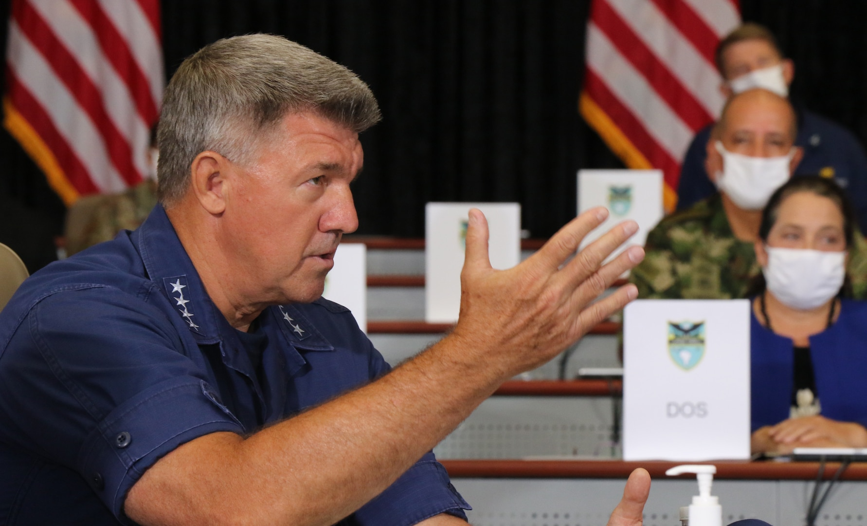U.S. Coast Guard Commandant Adm. Karl L. Schultz speaks during a briefing at U.S. Southern Command headquarters in Doral, Florida.