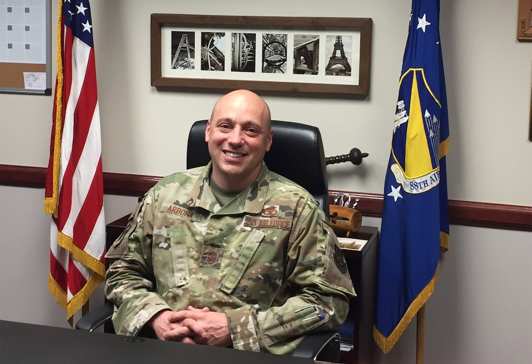 Chief Master Sgt. Stephen Arbona, 88th Air Base Wing command chief, is retiring following an almost 30-year Air Force career. (Skywrighter photo/Amy Rollins)