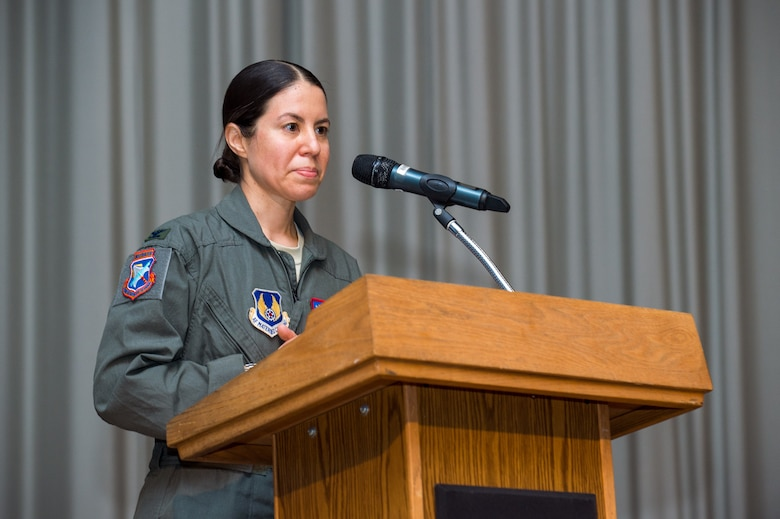 Col. Sebrina Pabon, Test Pilot School Commandant, provides her remarks during a Change of Command ceremony at Edwards Air Force Base, California, July 10. Pabon became the first female and flight test engineer to be named commandant of the school. (Air Force photo by Ethan Wagner)