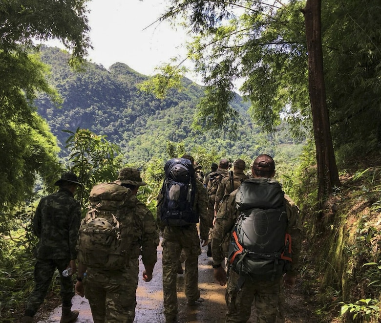 Airmen from the U.S. Indo-Pacific Command (USINDOPACOM) conduct a combined land survey with Royal Thai Army partners June 29, 2018, at Chiang Rai, Thailand. The United States, through USINDOPACOM, sent a search and rescue team to Tham Luang cave in Northern Thailand at the request of the Royal Thai government to assist in the rescue of the missing Thai soccer players and their coach. (Courtesy photo)