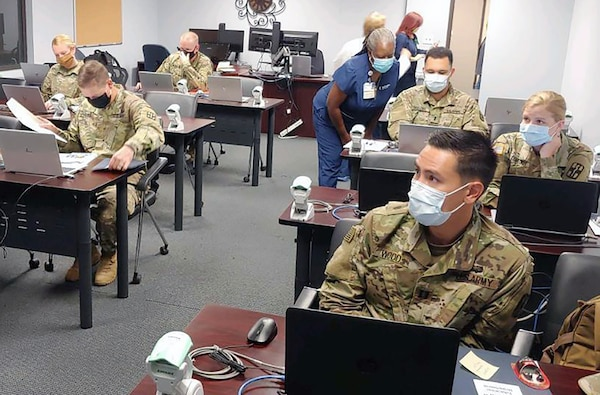 Soldiers from the Urban Augmentation Medical Task Force-627 attended integration and training at Methodist Hospital training center in San Antonio July 8, 2020.