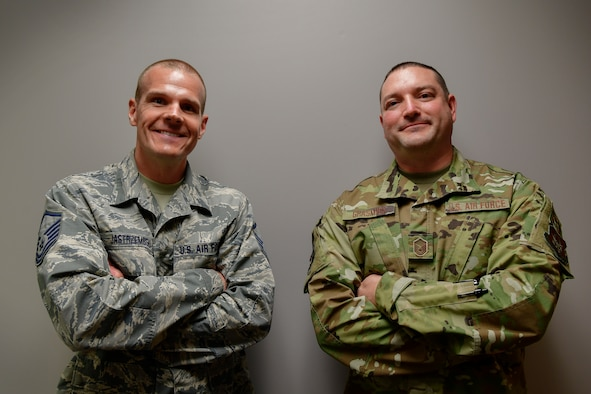 Master Sgts. Jason Jastrzembski and Robert Grasmick pose for a photo at Grissom Air Reserve Base, Ind., June 10, 2020