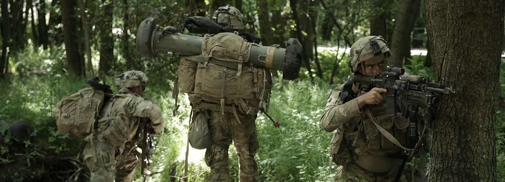 U.S. Soldiers assigned to the 3rd Battalion 67th Regiment scan the perimeter during exercise Allied Spirit at the Drawsko Pomorskie Training Area, Poland, June 16, 2020. (U.S. Army photo by Spc. Erikah Schaible)