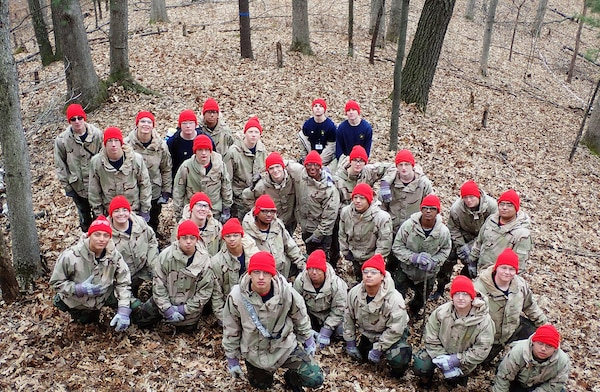Male cadets at the Wisconsin National Guard Challenge Academy on March 17, 2020, before the COVID-19 pandemic required the academy to send its cadets home in the middle of the five-and-a-half month residential phase of the program, which is designed to help teens at risk of not graduating high school turn their lives around.
