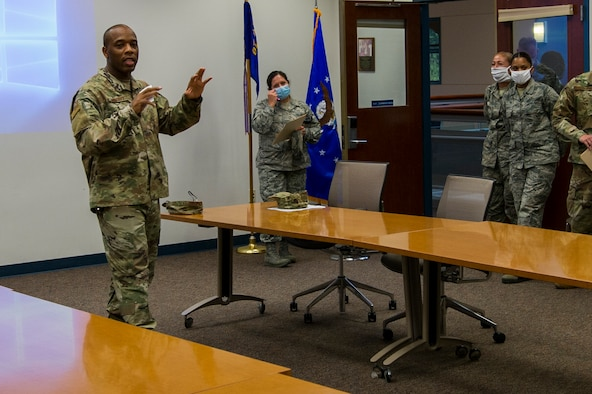U.S. Air Force Reserve Master Sgt. Rapheal Wescott, the 514th Air Mobility Wing career advisor, provides career advising training to Reserve Citizen Airmen with the 514th Aerospace Medicine Squadron on Joint Base McGuire-Dix-Lakehurst, N.J., July 12, 2020.