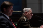 Secretary of Defense Dr. Mark T. Esper and U.S. Army Gen. Mark A. Milley, chairman of the Joint Chiefs of Staff provide testimony to the House Armed Services Committee on Department of Defense authorities and roles related to civilian law inforcement in Washington D.C., July 9, 2020.
