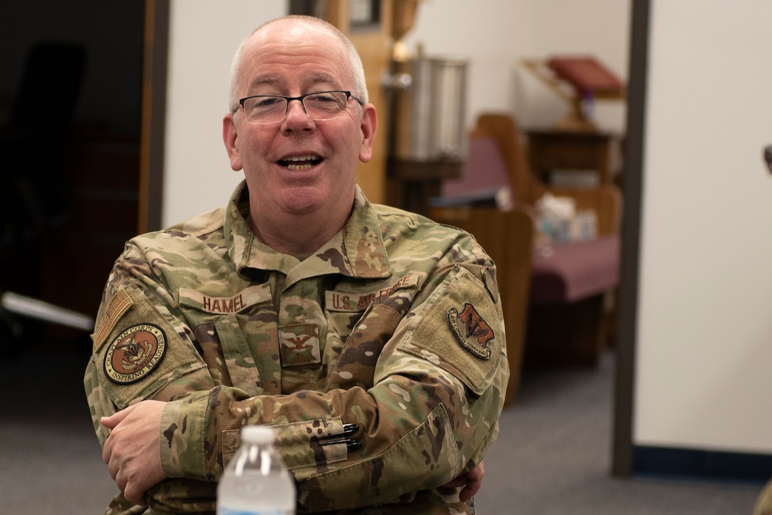 A photo of a Colonel talking.