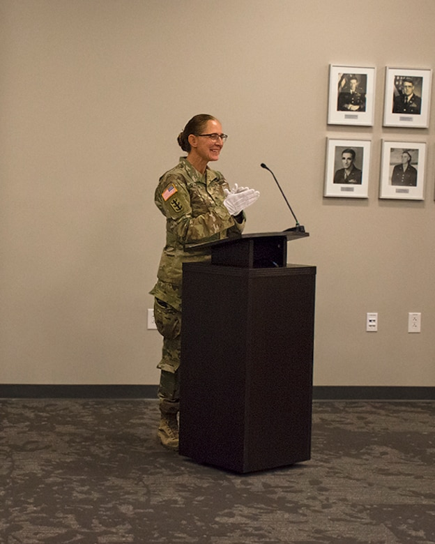 USACE South Pacific Division Commander Brig. Gen. Kimberly Colloton addresses the audience during the Albuquerque District change of command ceremony, July 9, 2020, at the Albuquerque District's office.