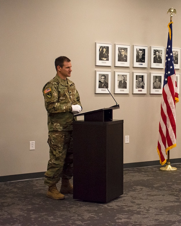 New Albuquerque District Commander Lt. Col. Patrick Stevens addresses the audience after assuming command of the Albuquerque District, July 9, 2020, during a change of command ceremony at the district office.