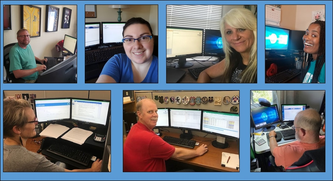 Members of the 130-person team at Travel Pay Processing - Ellsworth displayed AFIMSC's value of responsiveness to meet social distancing requirements. The team reduced the number of people in the office and transitioned many to telework status. Top row from left to right, David Gross, Tierny Ray, Melinda Hilmer, and Julie Tamin. Bottom row from left to right, Tracy McCausland, Tom Eifert, and James Copeland. (Courtesy photos)