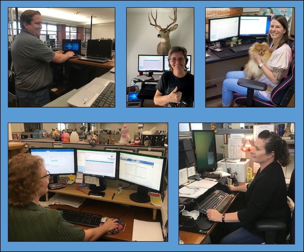 Members of the 130-person team at Travel Pay Processing - Ellsworth displayed AFIMSC's value of responsiveness by transitioning to telework status and reducing the number of people in the office. Top row from left to right, Thomas Roberts, Barb Schuch, Jamie Hartsock and Max. Bottom row from left to right, Charlene Larsen and Jean Osborne. (Courtesy photos)