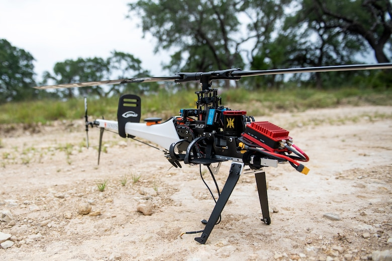 An unmanned aerial system is set up in preparation for a test flight July 9, 2020, at Joint Base San Antonio-Camp Bullis, Texas.An unmanned aerial system is set up in preparation for a test flight July 9, 2020, at Joint Base San Antonio-Camp Bullis, Texas.