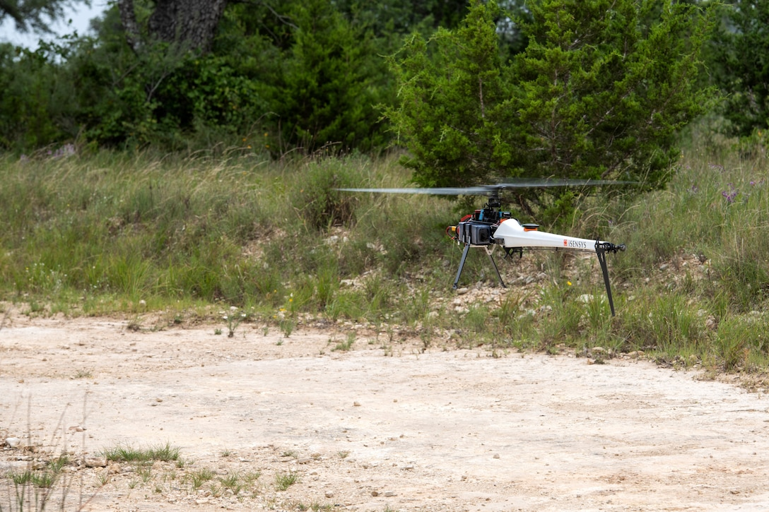 An unmanned aerial system prepares to take off during a test flight July 9, 2020, at Joint Base San Antonio-Camp Bullis, Texas.