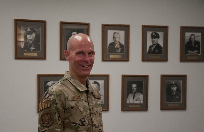 Maj. Gen. Michael J. Lutton poses in front of a former 20th Air Force commander wall at the 20th Air Force headquarters, 10 July 2020, F. E. Warren Air Force Base, Wyoming. Lutton took command of 20th Air Force 8 July 2020. (U.S. Air Force photo by 1st Lt Ieva Bytautaite)