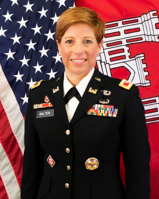 Col. Julie A. Balten is the 63rd commander of the Los Angeles District. With more than 23 years of active service, she leads 746 military and civilian personnel operating in a 226,000-square-mile area of California, Arizona, Nevada and Utah. She is responsible for a $750 million annual budget for planning, engineering, construction, asset management, regulatory, emergency management and environmental services for three Army and eight Air Force installations, inter-agency and international customers, and the nation's civil water resources infrastructure in the Southwest, and a current value of assets worth $240 million.