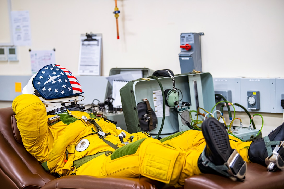 U.S. Air Force Capt. Joshua Hall, 99th Reconnaissance Squadron U-2 Dragon Lady pilot, receives suit preparations prior to takeoff at RAF Fairford, England, July 8, 2020. The U-2 aircraft assigned to the 9th Reconnaissance Wing, Beale Air Force Base, Calif., are currently deployed to RAF Fairford as part of the 99th Expeditionary Reconnaissance Squadron. (U.S. Air Force photo by Senior Airman Eugene Oliver)