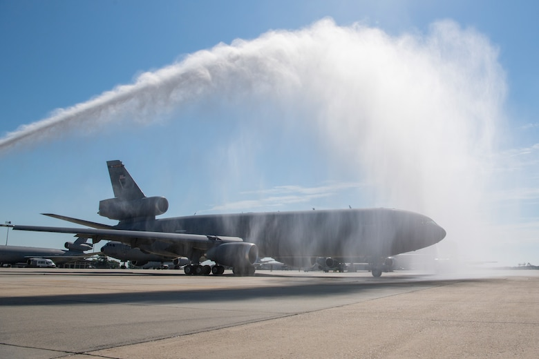 KC-10 Extender tail #86-0036 receives a traditional water salute as the 514th Air Mobility Wing U.S. Air Force Lt. Col. Mike Pillion prepares to fly it to the 309th Aerospace Maintenance and Regeneration Group at Davis-Monthan Air Force Base, Ariz., following a July 13 ceremony at Joint Base McGuire-Dix-Lakehurst, N.J., that marked the first retirement of 59 Extenders intended for eventual replacement by the KC-46A Pegasus. A total of three KC-10s from the Air Force's Backup-Aircraft Inventory were congressionally approved for retirement during Fiscal Year 2020. As KC-10s are retired, the 309th AMARG will continue to support the remaining Extenders with spare parts as they are flown for several years while the KC-46A Pegasus is integrated into Air Mobility Command's Total Force tanker enterprise. For nearly four decades, the KC-10 has helped secure global reach for America, providing in-flight refueling to U.S. and coalition aircraft, from Operations Desert Shield and Desert Storm to Operation Inherent Resolve. The KC-10 is flown from JBMDL by both the 305th AMW and its associate Air Force Reserve unit, the 514th AMW.