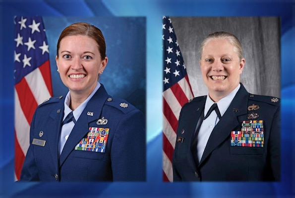 Lt. Col. Amanda Shumaker and Air Force Lt. Col. Jennifer Neris
