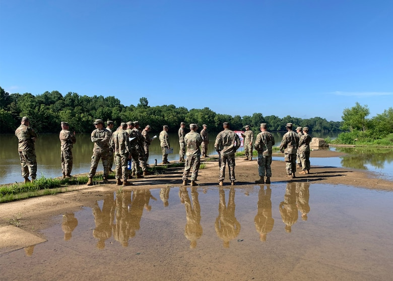 U.S. Army Senior Non-Commissioned Officers and Commissioned Officers from USACE Nashville District and the 326th Engineer Battalion from Fort Campbell Ky. Participate in leadership training at Lock C on the Cumberland River in Indian Mound Tenn. (USACE Photo by Daniel Barrios)