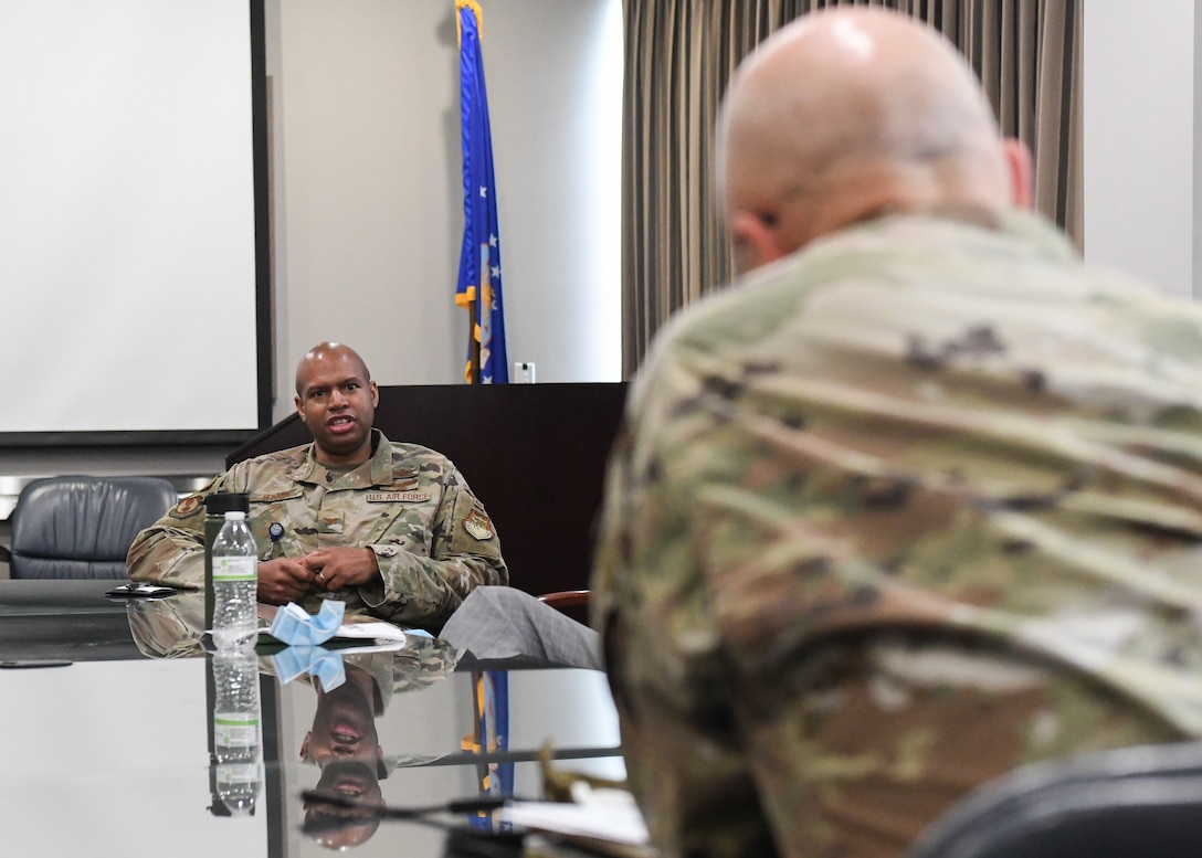 Col. Ernest Lincoln Bonner, chief of the Arnold Engineering Development Complex (AEDC) Test Division, offers his thoughts to Gen. Arnold W. Bunch Jr., commander, Air Force Materiel Command, during a discussion on diversity and inclusion held by Bunch with AEDC senior leadership, July 8, 2020, at Arnold Air Force Base, Tenn., headquarters of AEDC. Bunch also held a discussion with members of Team AEDC, including uniformed Airmen, DOD civilians and contractors. (U.S. Air Force photo by Jill Pickett)