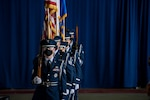 U.S. Air Force members of the base honor guard post the colors during the 35th Fighter Wing change of command ceremony at Misawa Air Base, Japan, July 13, 2020. Col. Kristopher W. Struve, relinquished command of the 35th Fighter Wing to Col. Jesse J. Friedel during the official ceremony.