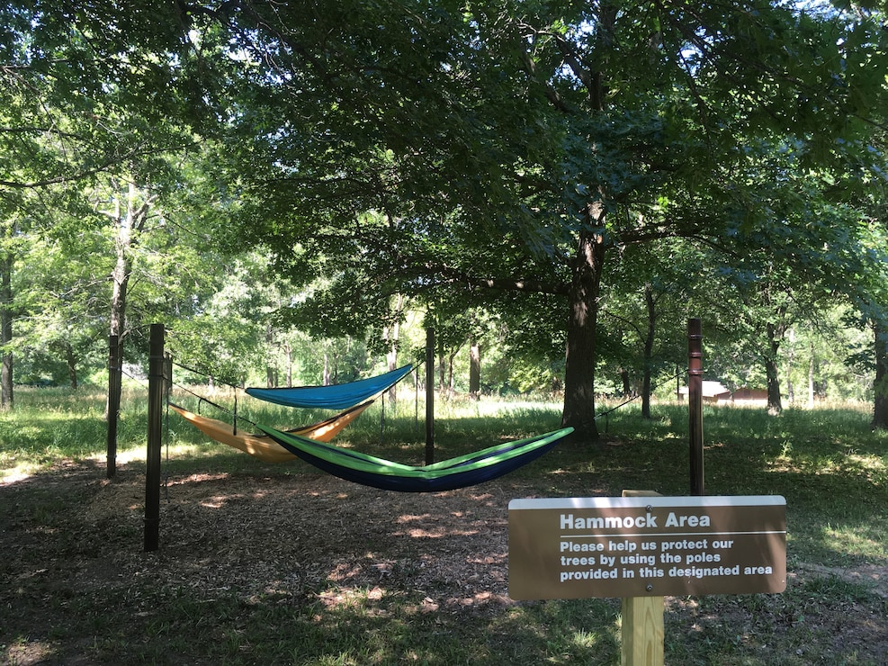 "A new hammock area has been installed at Saylorville Lake to allow visitors to ""hammock"" on Corps property."