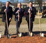 IMAGE: DAHLGREN, Va. – Paul Quinn, a Naval Surface Warfare Center Dahlgren Division (NSWCDD) engineer, right, is pictured in 2016 at a Naval Surface Warfare Center Dahlgren Division (NSWCDD) groundbreaking ceremony for a new facility considered vital to the Navy's Submarine Launched Ballistic Missile (SLBM) Program. Quinn won the Navy Meritorious Civilian Service Award, NSWCDD announced in July 2020. The award recognizes Quinn for exceptional leadership and commitment to the SLBM Program.
