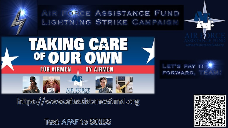 """A graphic depicting the AFAF Lightning Strike Campaign, highlighting that people can donate an online contribution at www.afassistancefund.org and clicking """"Donate Now"""" or by texting """"AFAF"""" to 50155."""